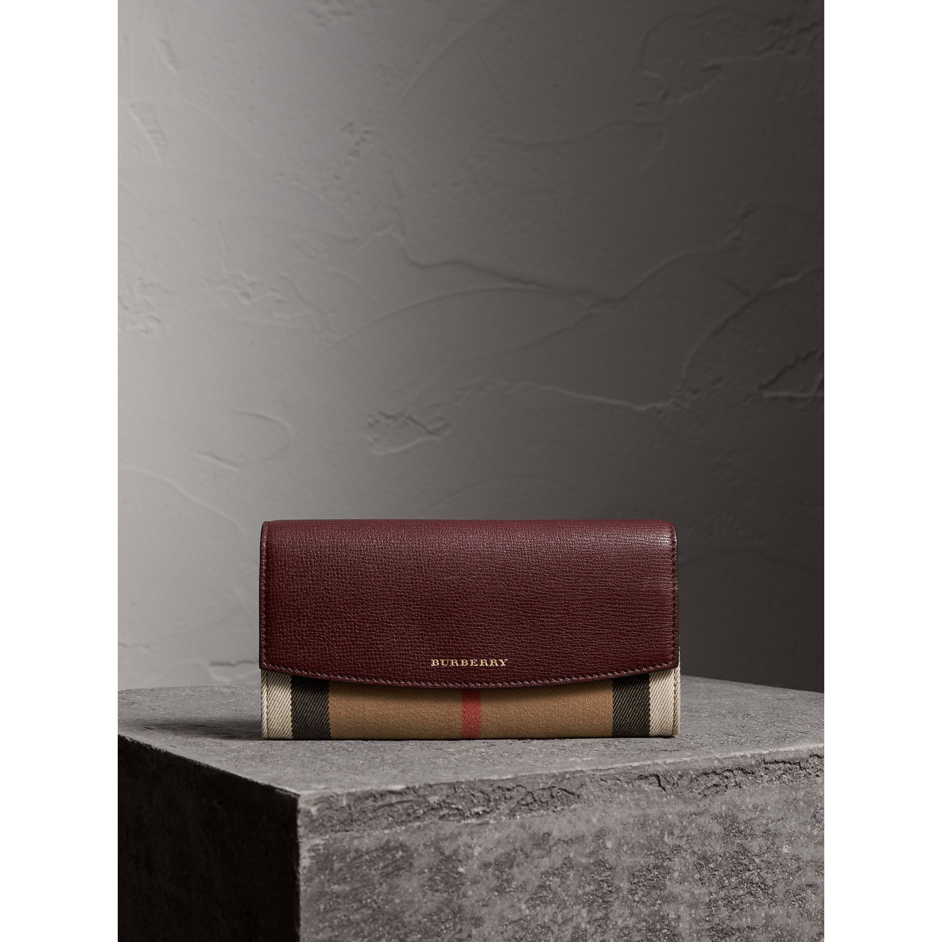 House Check And Leather Continental Wallet in Mahogany Red - Women | Burberry - gallery image 4