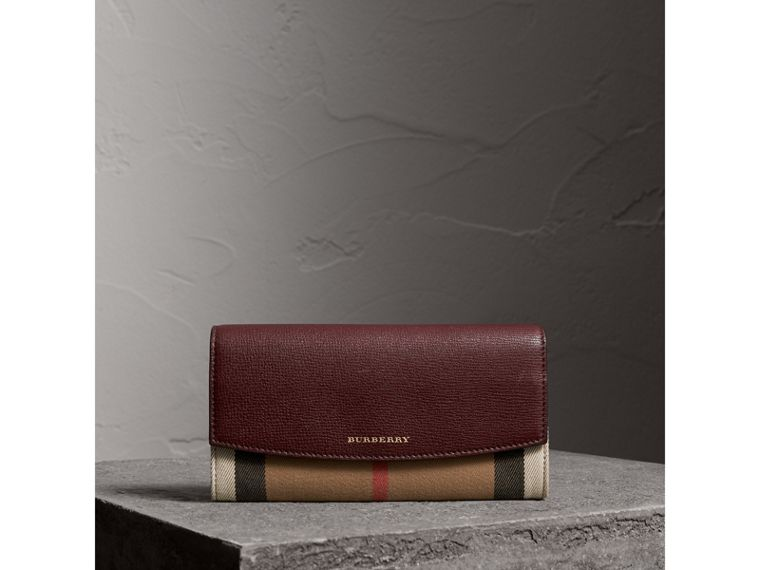 House Check And Leather Continental Wallet in Mahogany Red - Women | Burberry - cell image 4