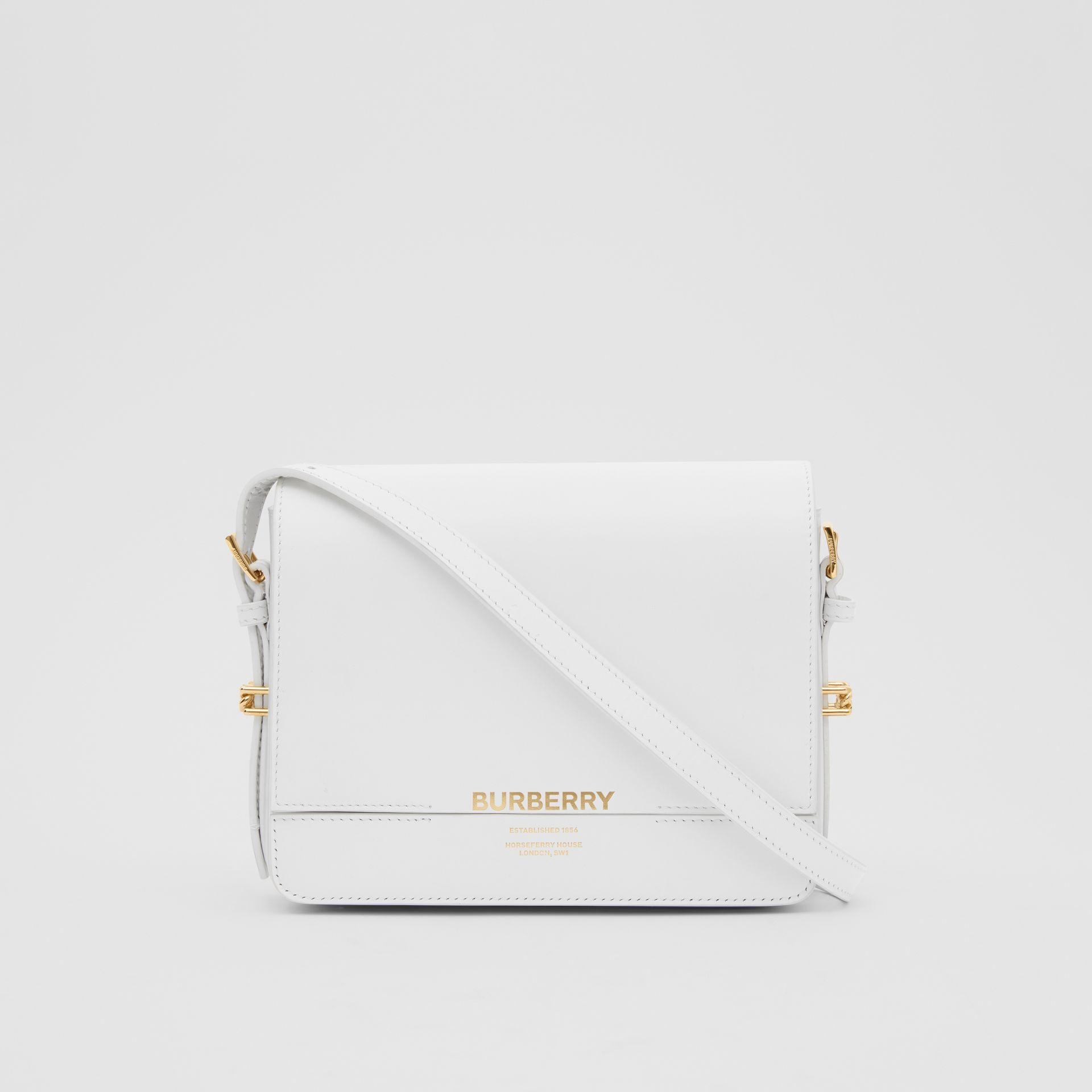 Small Two-tone Leather Grace Bag in Optic White/light Pebble Grey - Women | Burberry - gallery image 0