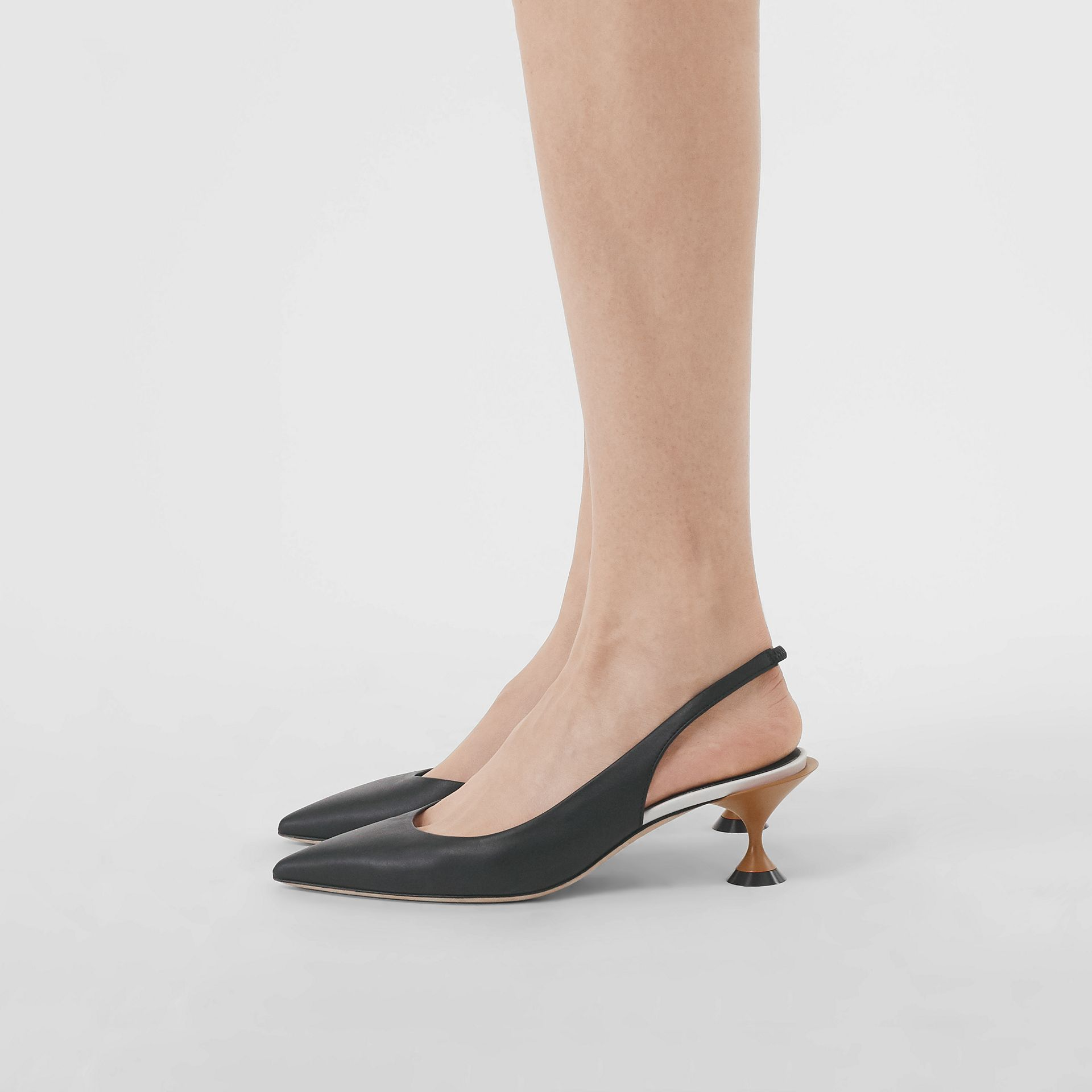 Leather Slingback Pumps in Black - Women | Burberry United States - gallery image 1
