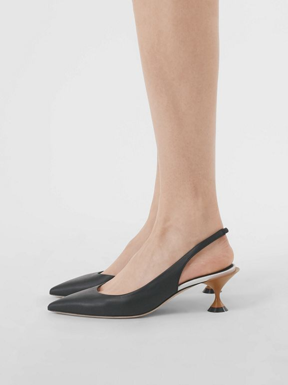 Leather Slingback Pumps in Black - Women | Burberry United Kingdom - cell image 1