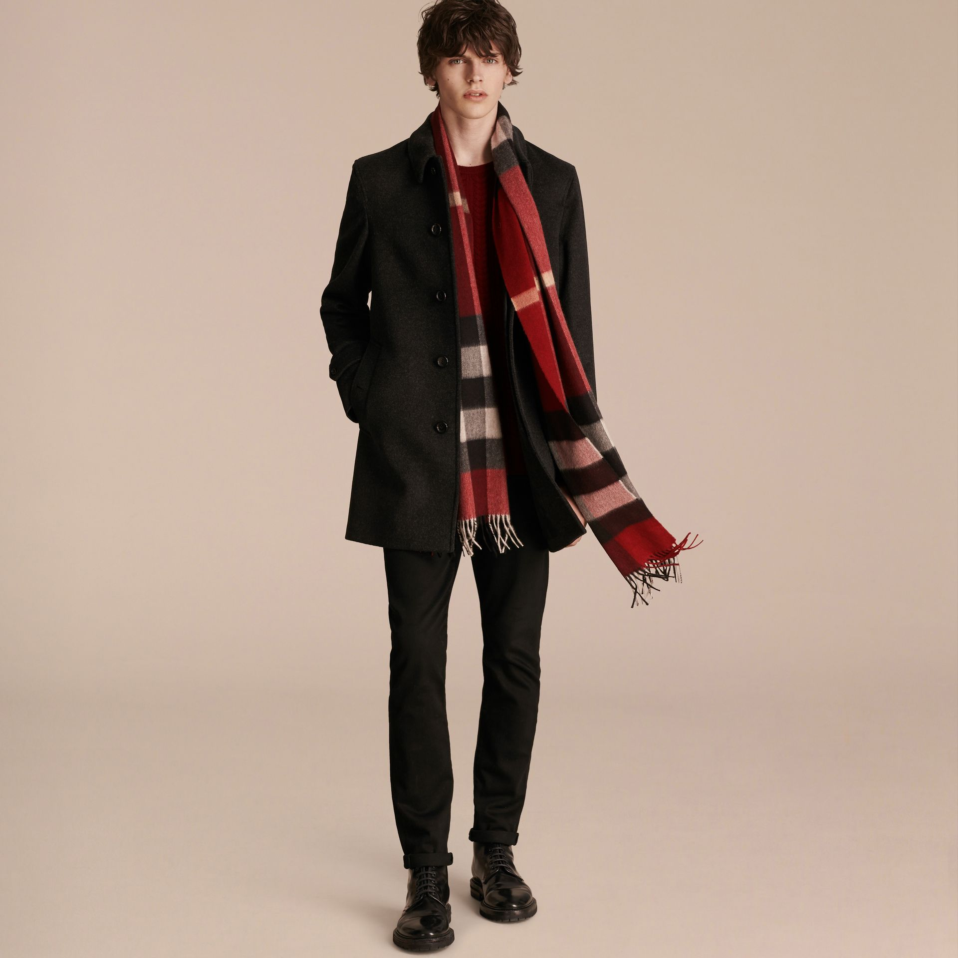 The Large Classic Cashmere Scarf in Check in Parade Red - gallery image 4