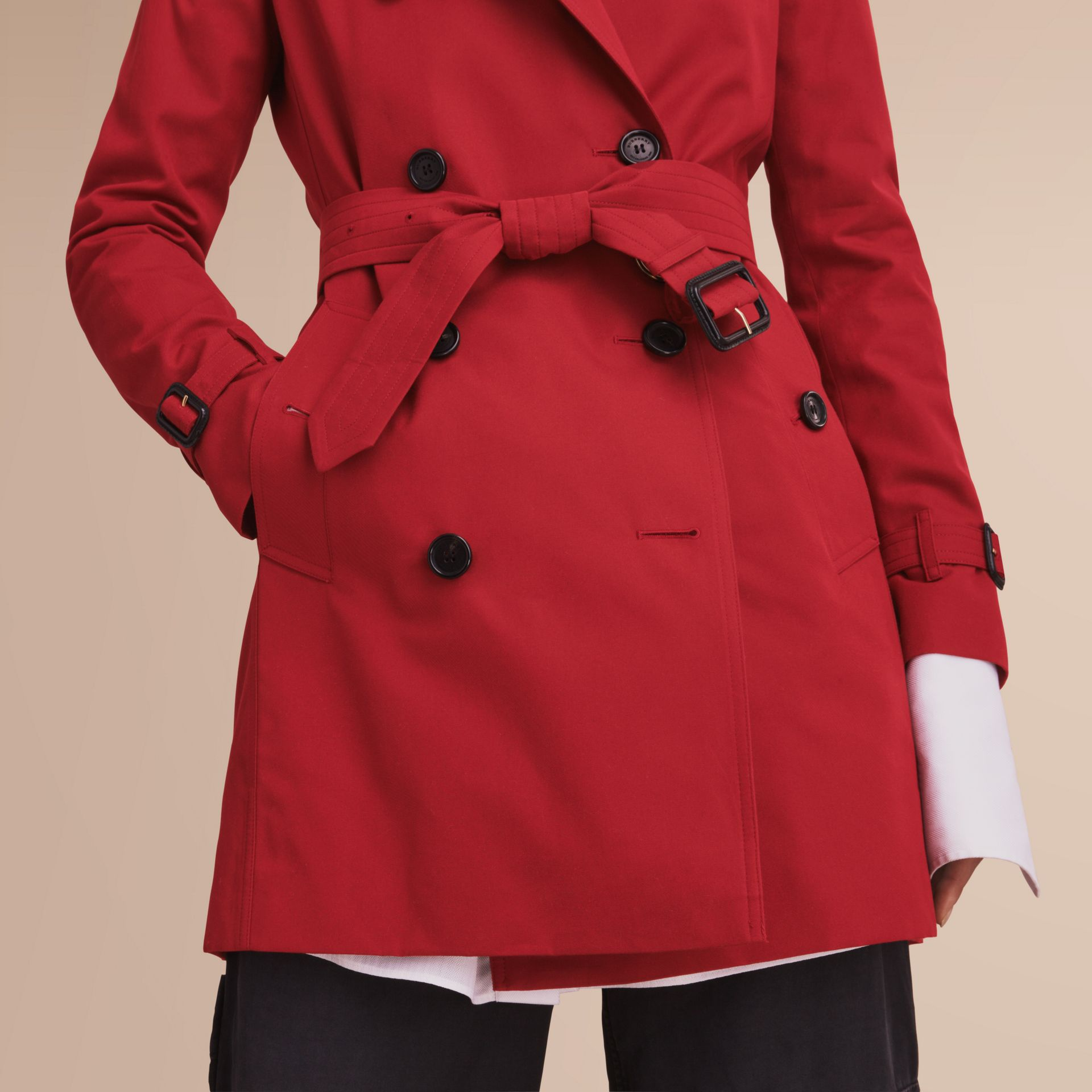 The Kensington – Mid-Length Heritage Trench Coat in Parade Red - gallery image 6