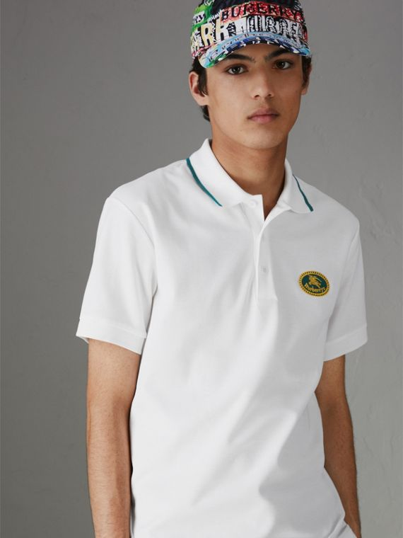 Archive Logo Cotton Piqué Polo Shirt in White