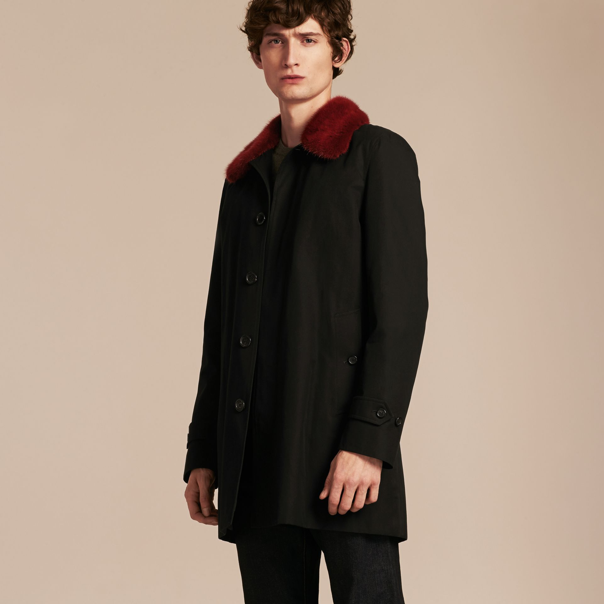 Car Coat with Detachable Mink Collar and Cashmere Warmer - gallery image 7