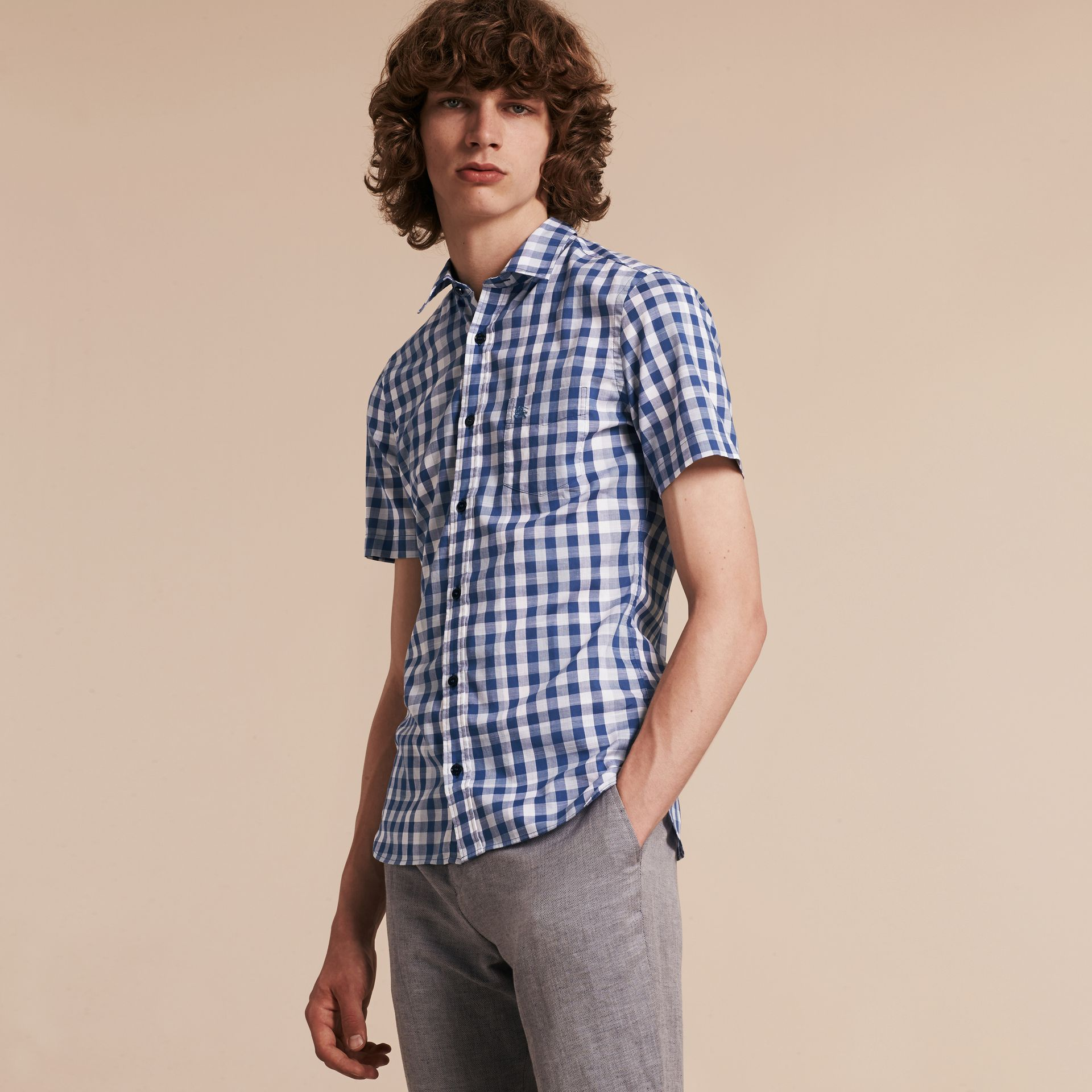 Bright steel blue Short-sleeved Gingham Cotton Shirt Bright Steel Blue - gallery image 4