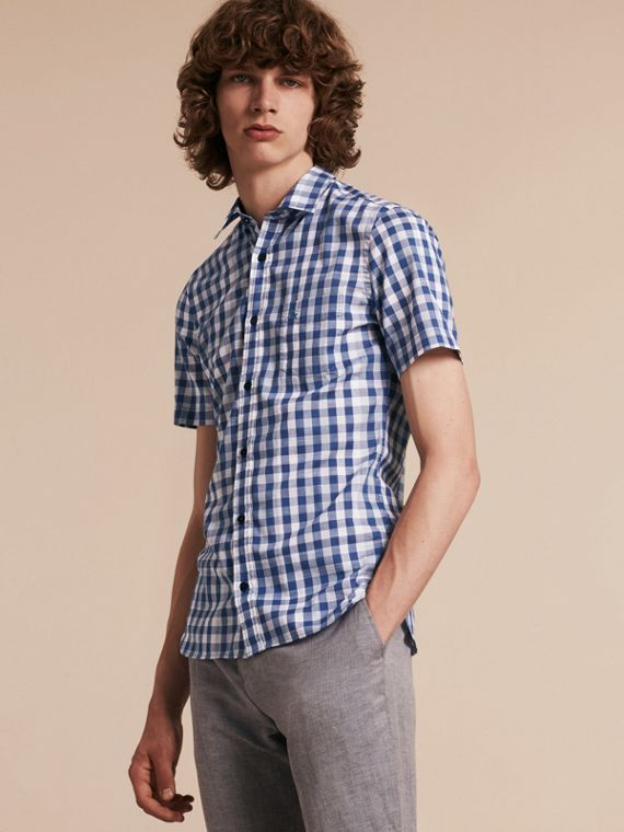 Bright steel blue Short-sleeved Gingham Cotton Shirt Bright Steel Blue - cell image 3