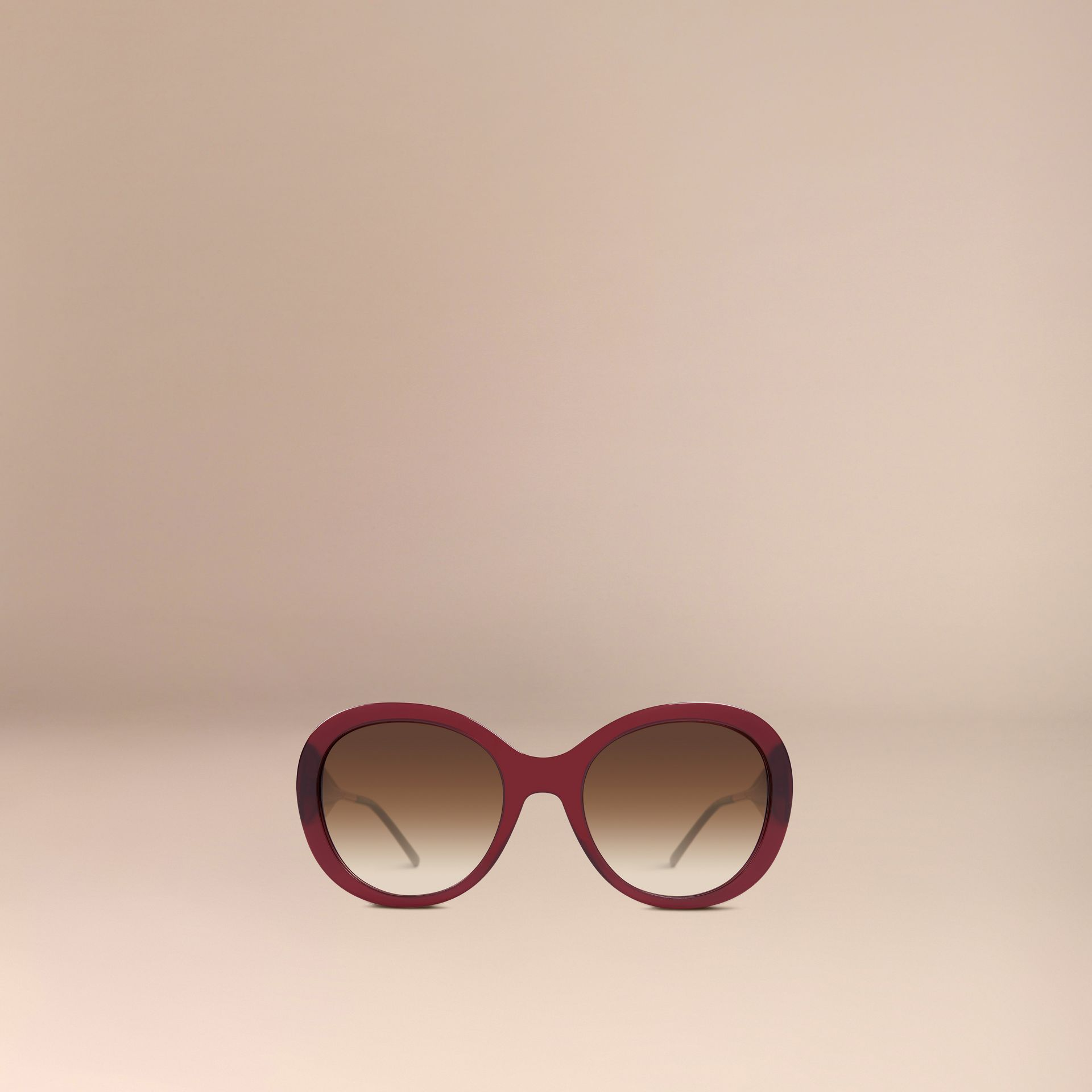 Oxblood Gabardine Collection Oversize Round Frame Sunglasses Oxblood - gallery image 3