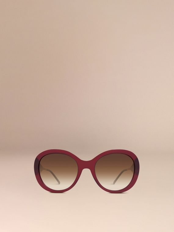 Oxblood Gabardine Collection Oversize Round Frame Sunglasses Oxblood - cell image 2