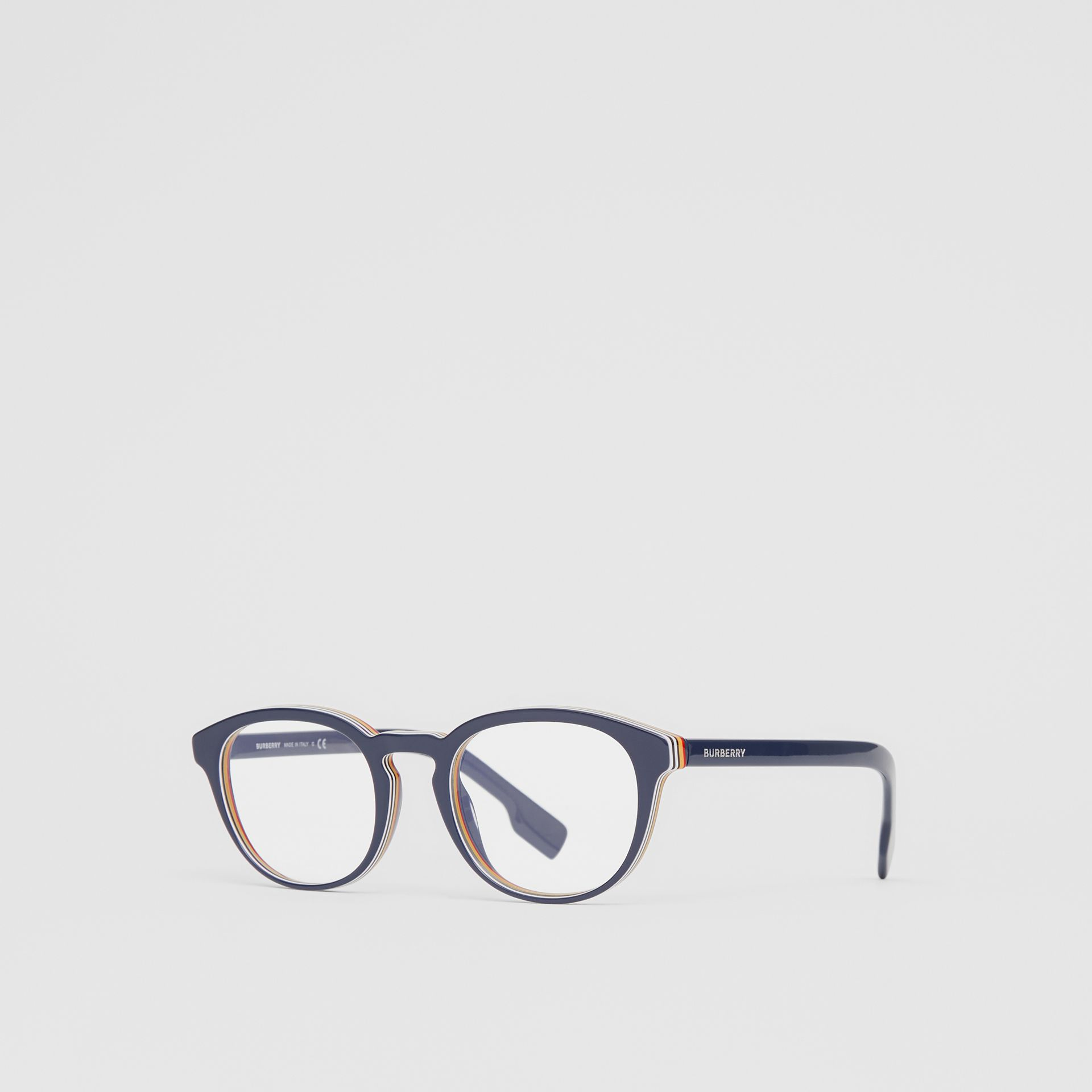 Icon Stripe Detail Round Optical Frames in Blue - Men | Burberry - gallery image 4