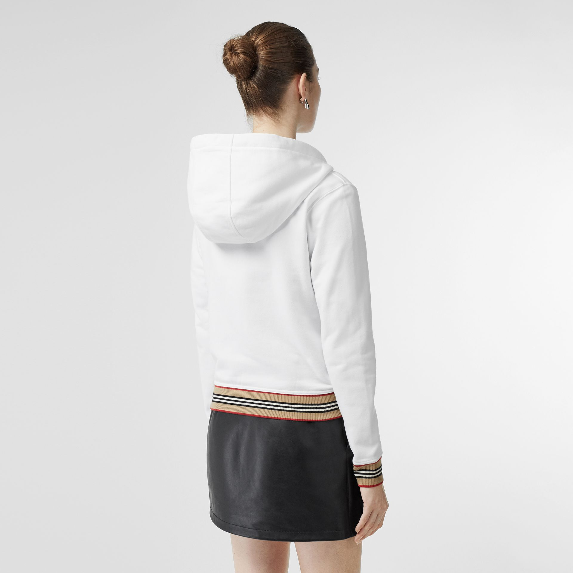 Icon Stripe Detail Monogram Motif Hooded Top in White - Women | Burberry Singapore - gallery image 2