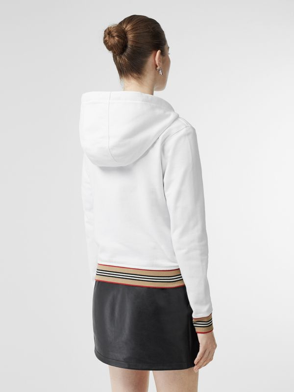 Icon Stripe Detail Monogram Motif Hooded Top in White - Women | Burberry - cell image 2