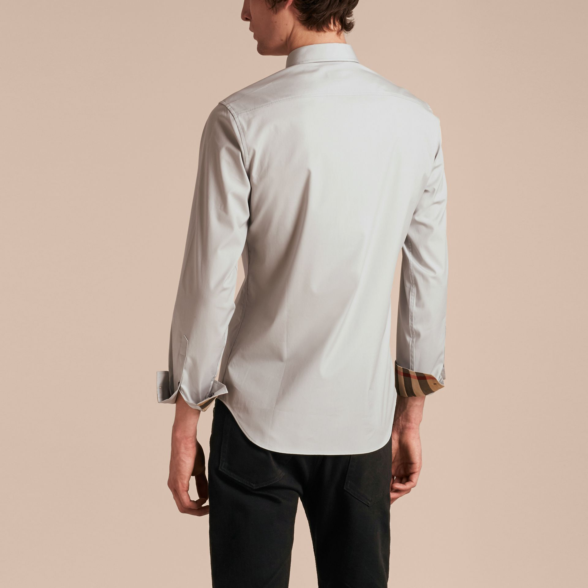Check Detail Stretch Cotton Poplin Shirt Pale Grey - gallery image 3