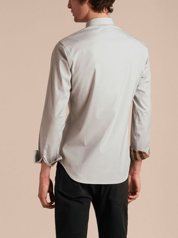 Check Detail Stretch Cotton Poplin Shirt Pale Grey - cell image 2