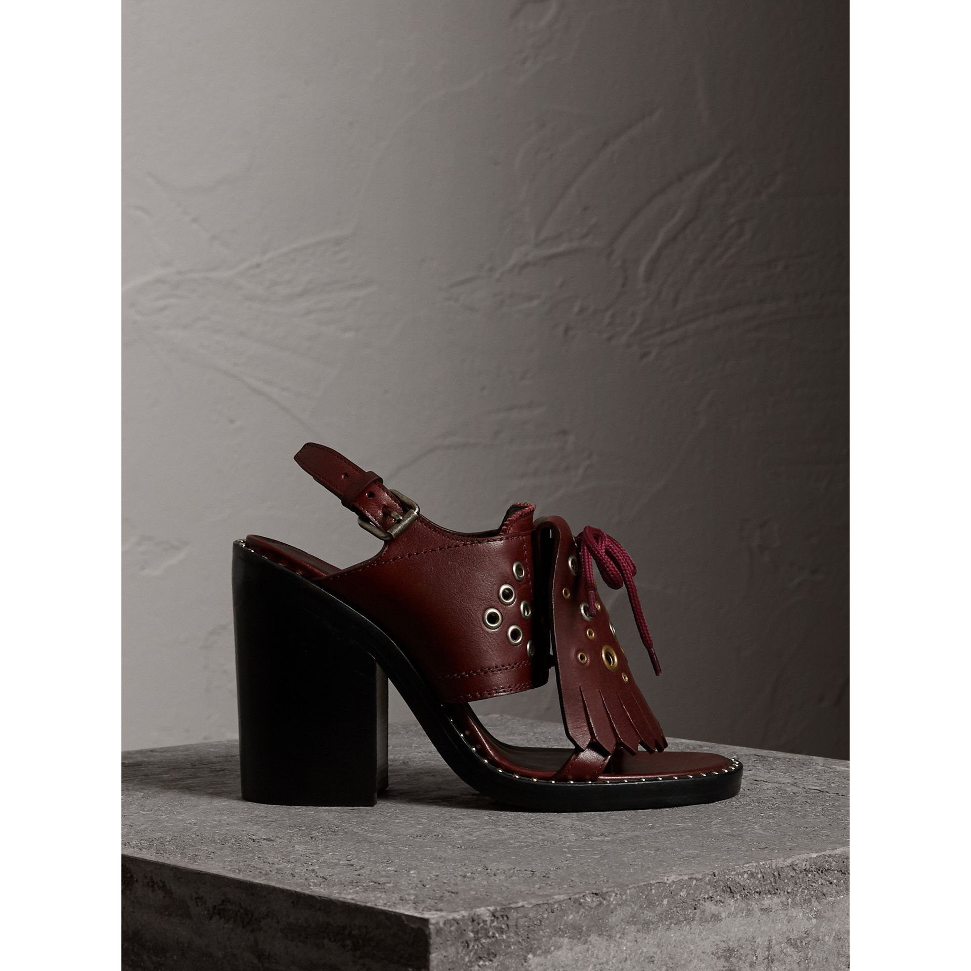 Kiltie Fringe Leather Heeled Sandals in Cerise Purple - Women | Burberry - gallery image 1