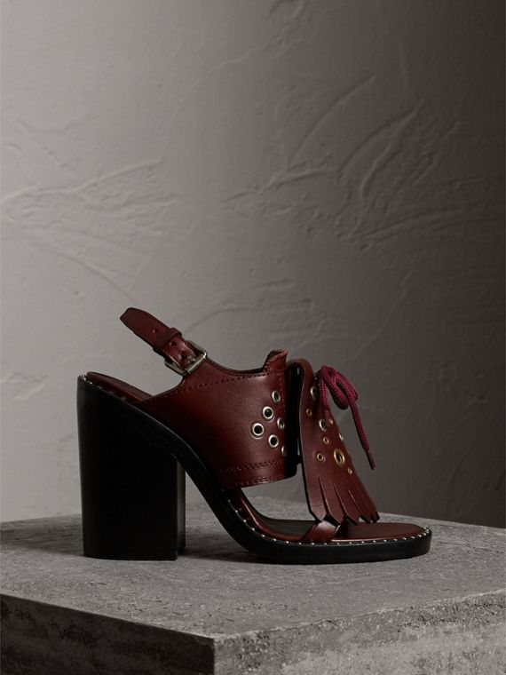 Kiltie Fringe Leather Heeled Sandals in Cerise Purple