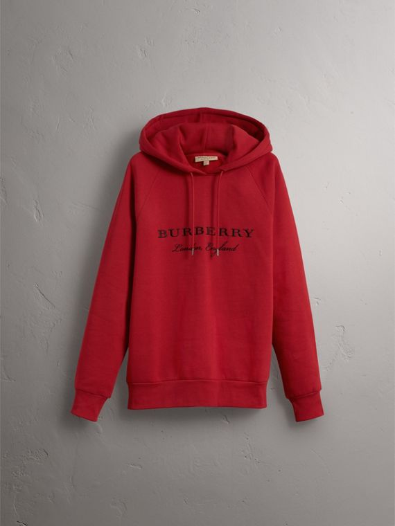 Embroidered Hooded Sweatshirt in Parade Red - Men | Burberry - cell image 3