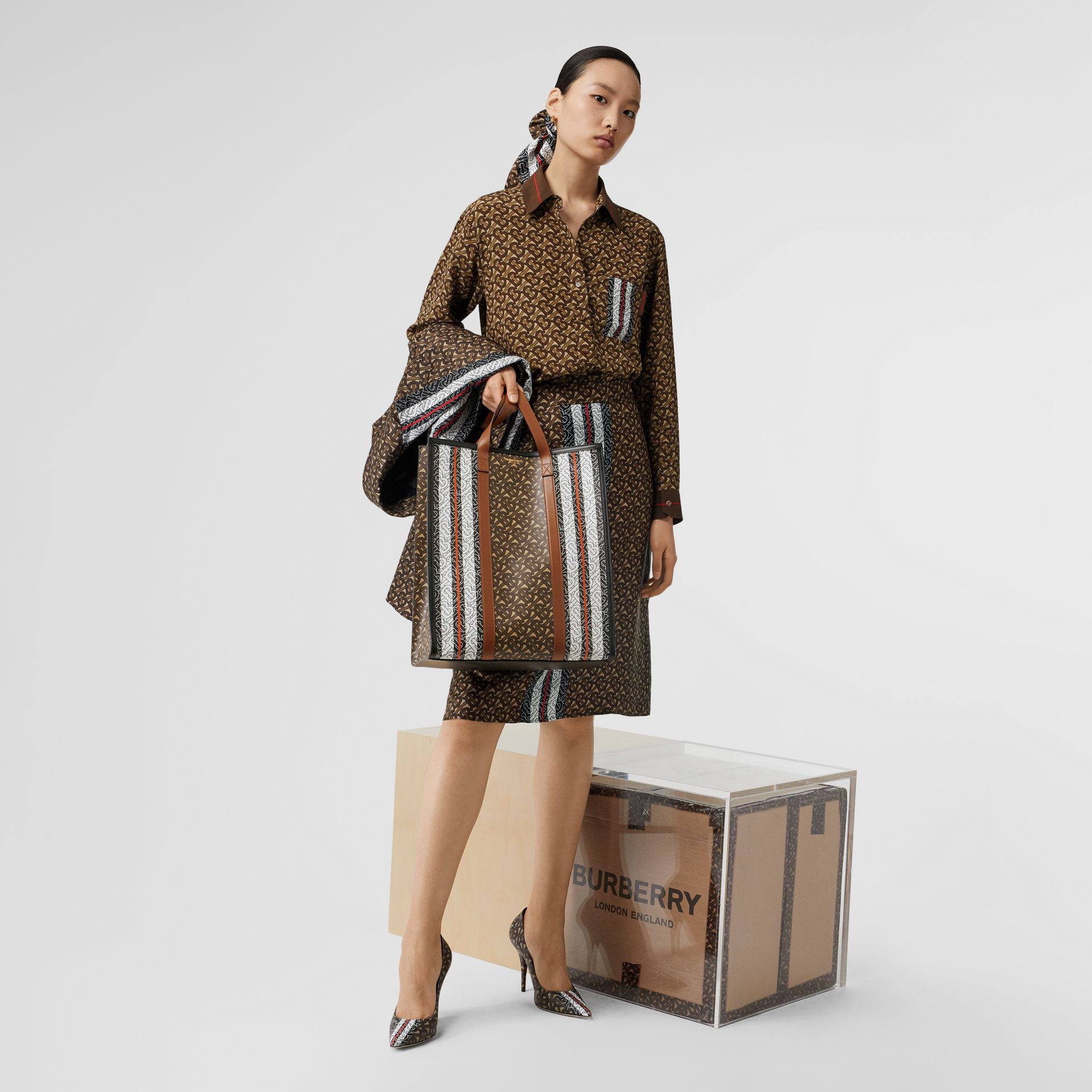 Monogram Stripe Print Silk Skirt in Bridle Brown - Women | Burberry - gallery image 5