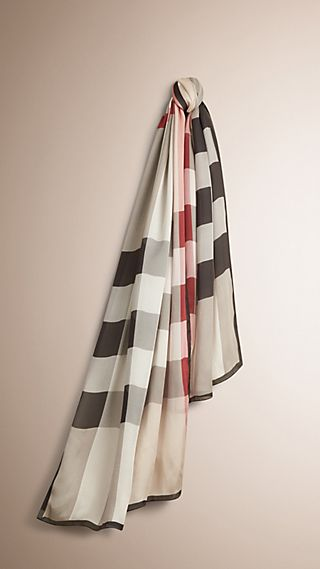 Lightweight Check Silk Scarf