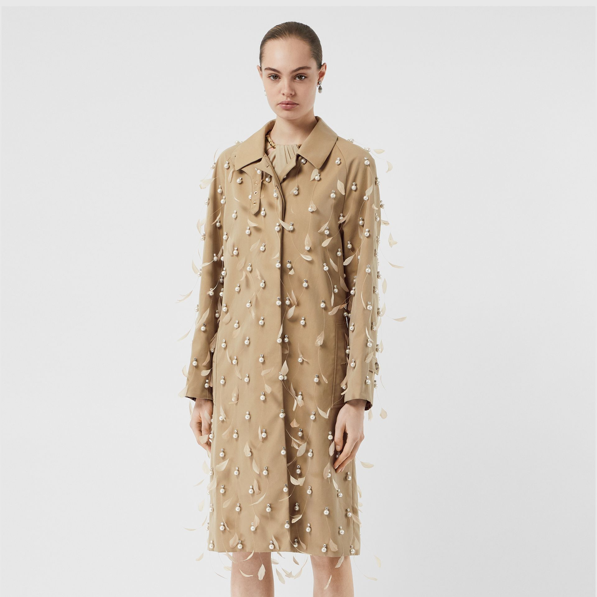 Embellished Cotton Gabardine Car Coat in Pale Honey - Women | Burberry Australia - gallery image 6