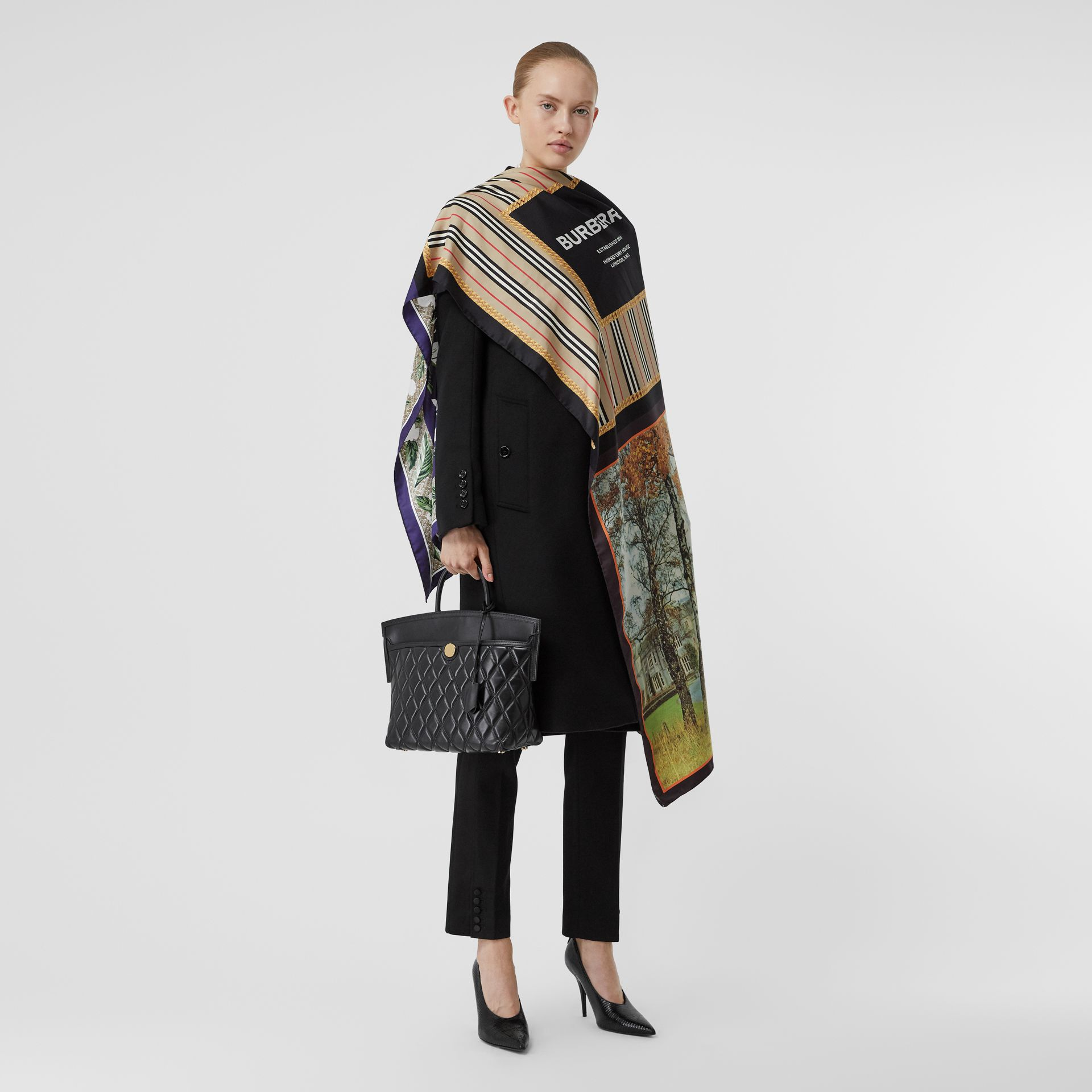 Montage Print Silk Scarf in Archive Beige | Burberry - gallery image 5