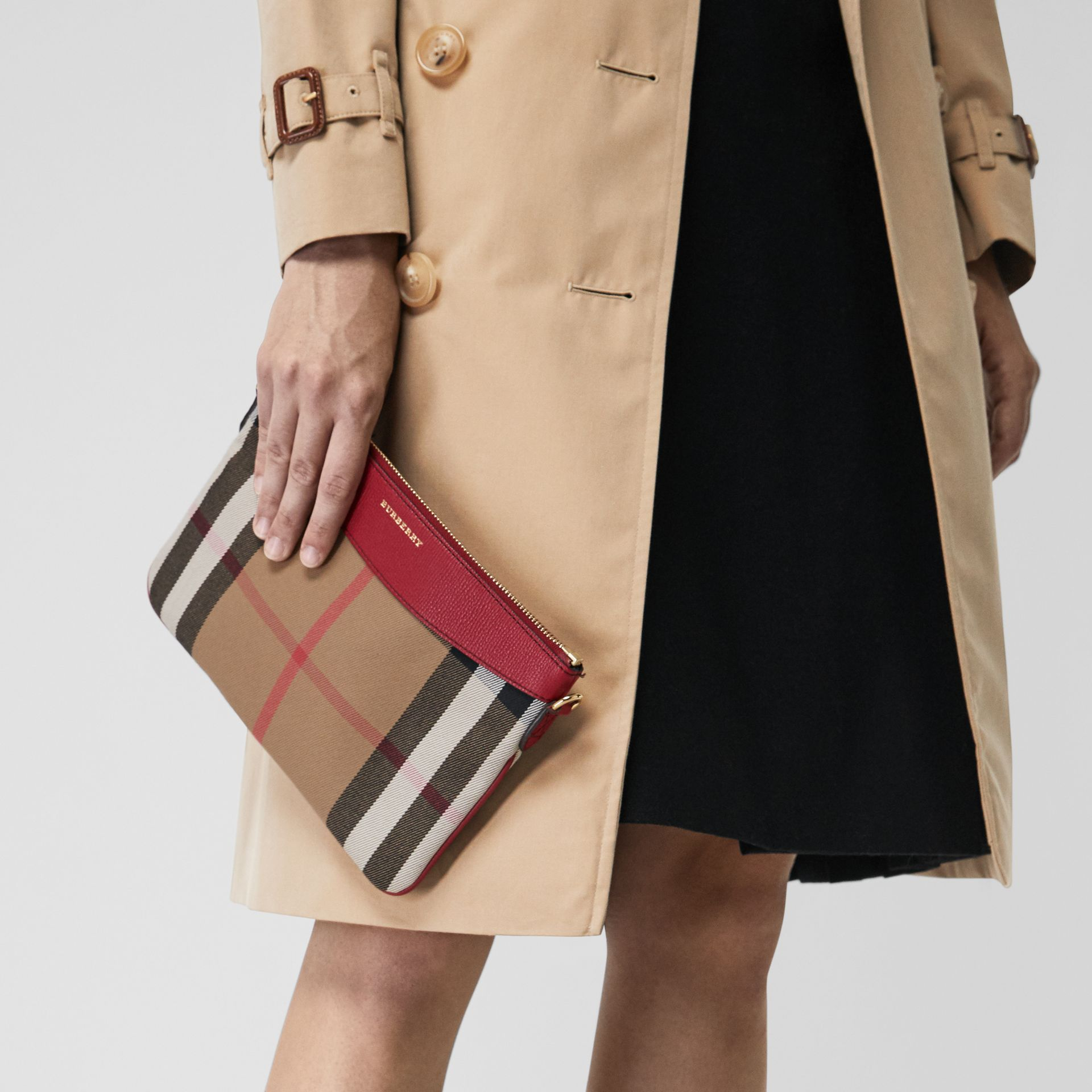 House Check and Leather Clutch Bag in Military Red - Women | Burberry Singapore - gallery image 3