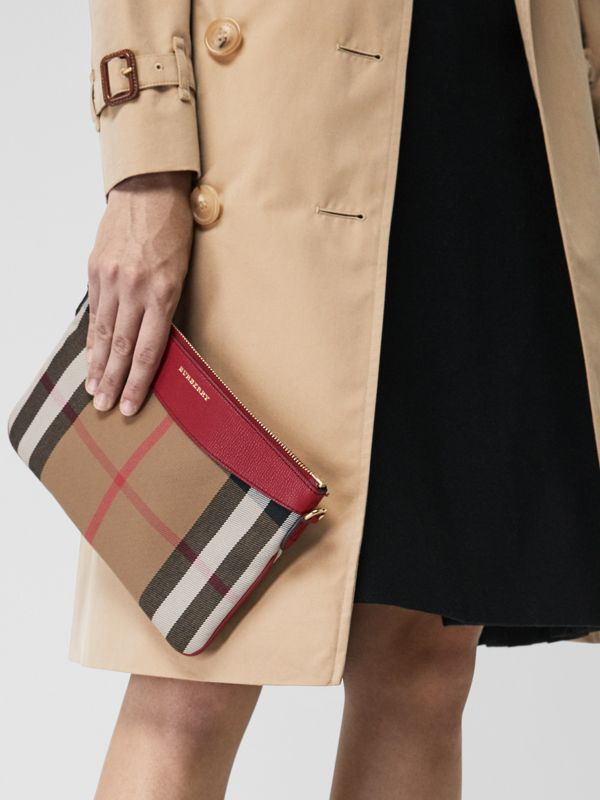 House Check and Leather Clutch Bag in Military Red - Women | Burberry Singapore - cell image 3