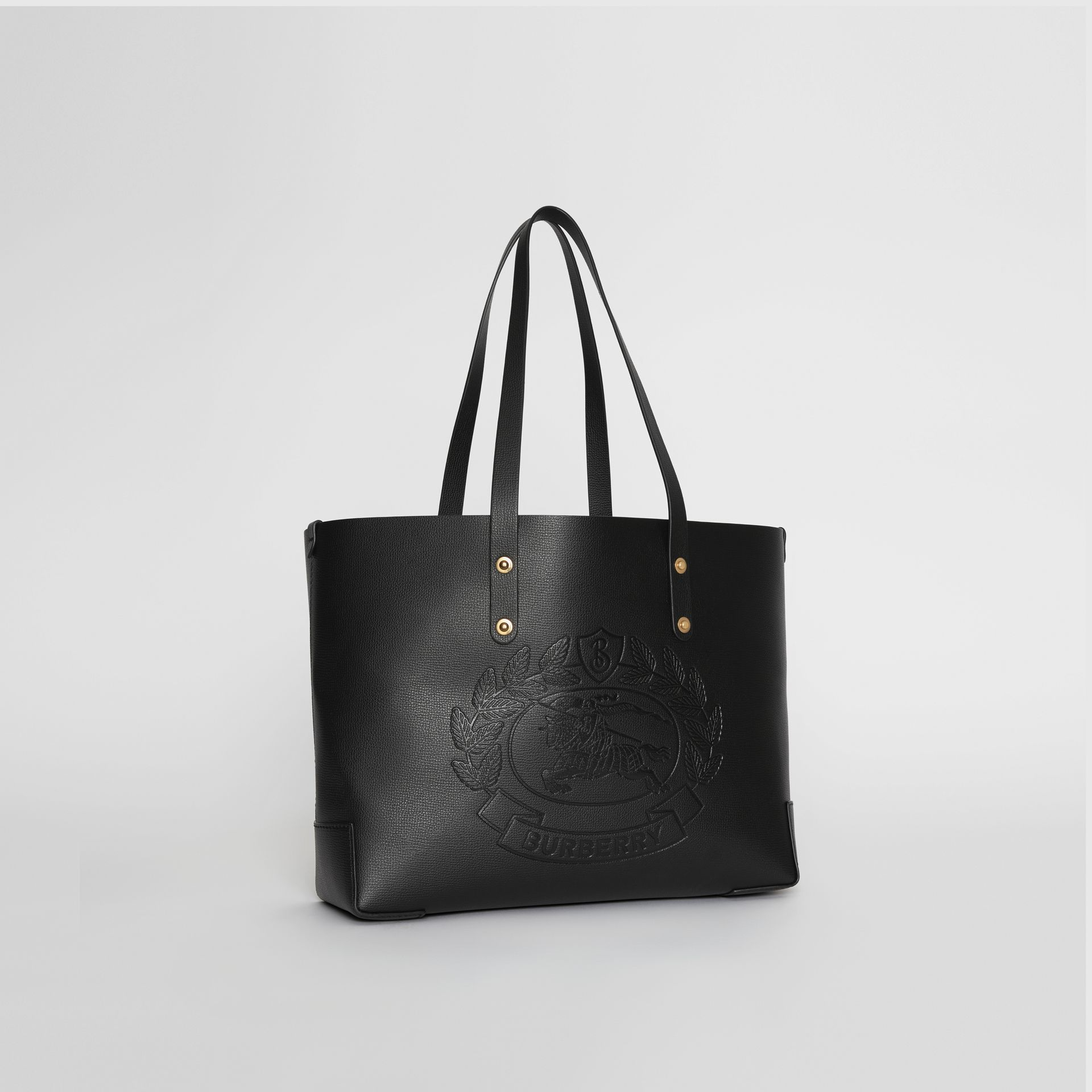 Small Embossed Crest Leather Tote in Black | Burberry Singapore - gallery image 4