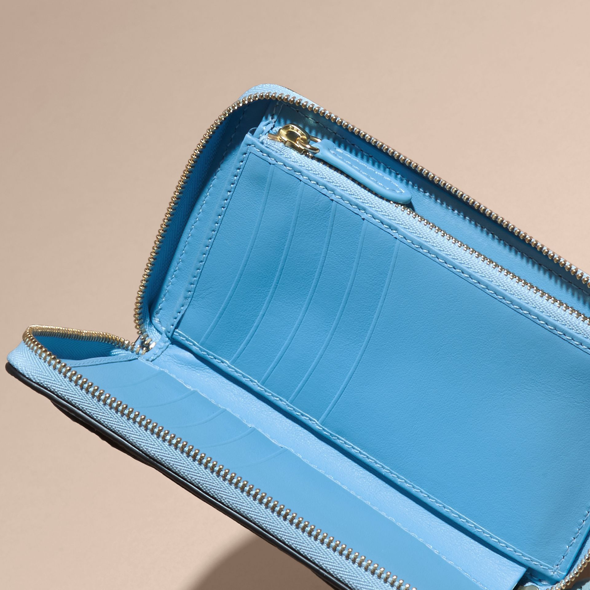 Bright mineral blue Grainy Leather Appliqué House Check Ziparound Wallet - gallery image 6