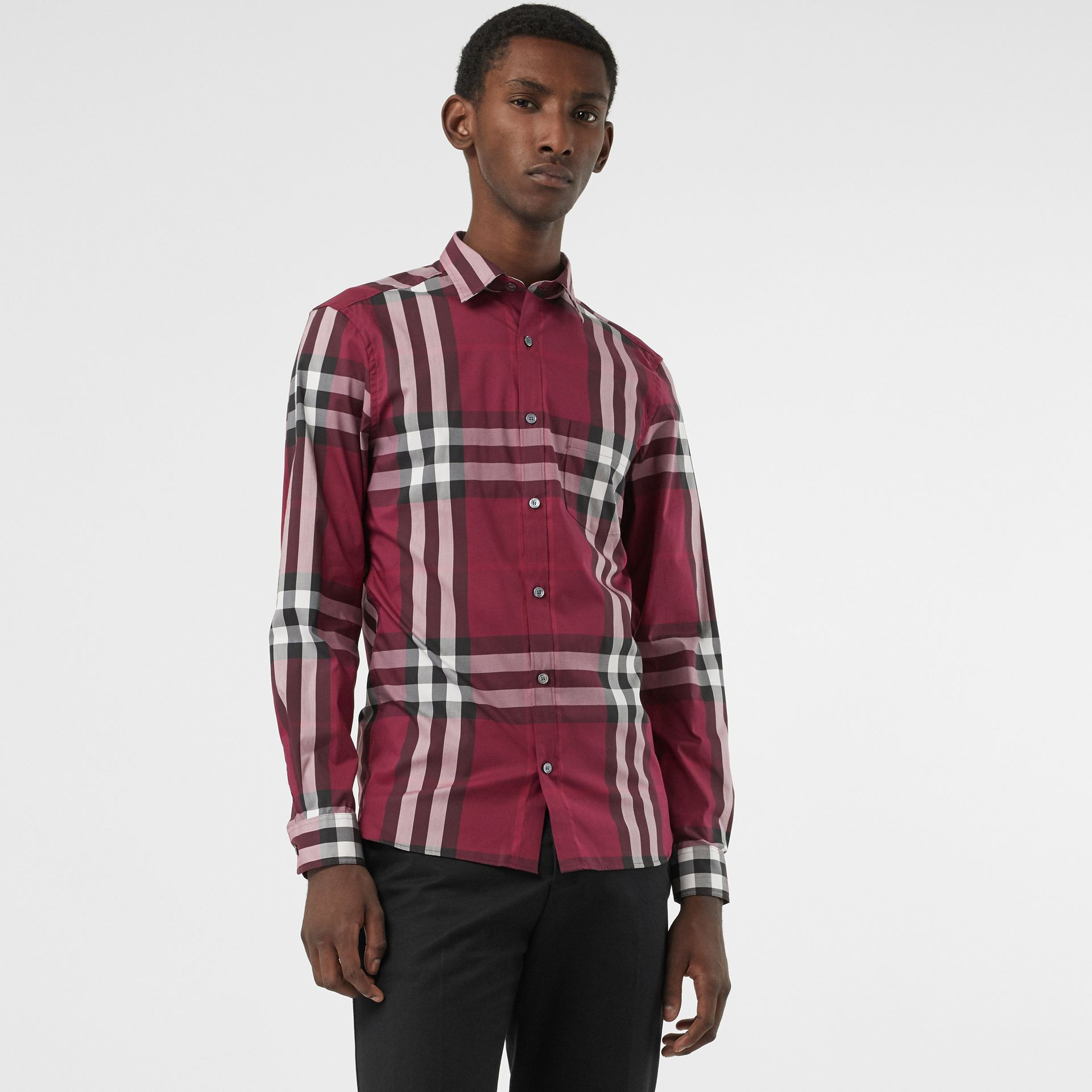 Check Stretch Cotton Shirt in Plum - Men | Burberry United Kingdom - gallery image 0