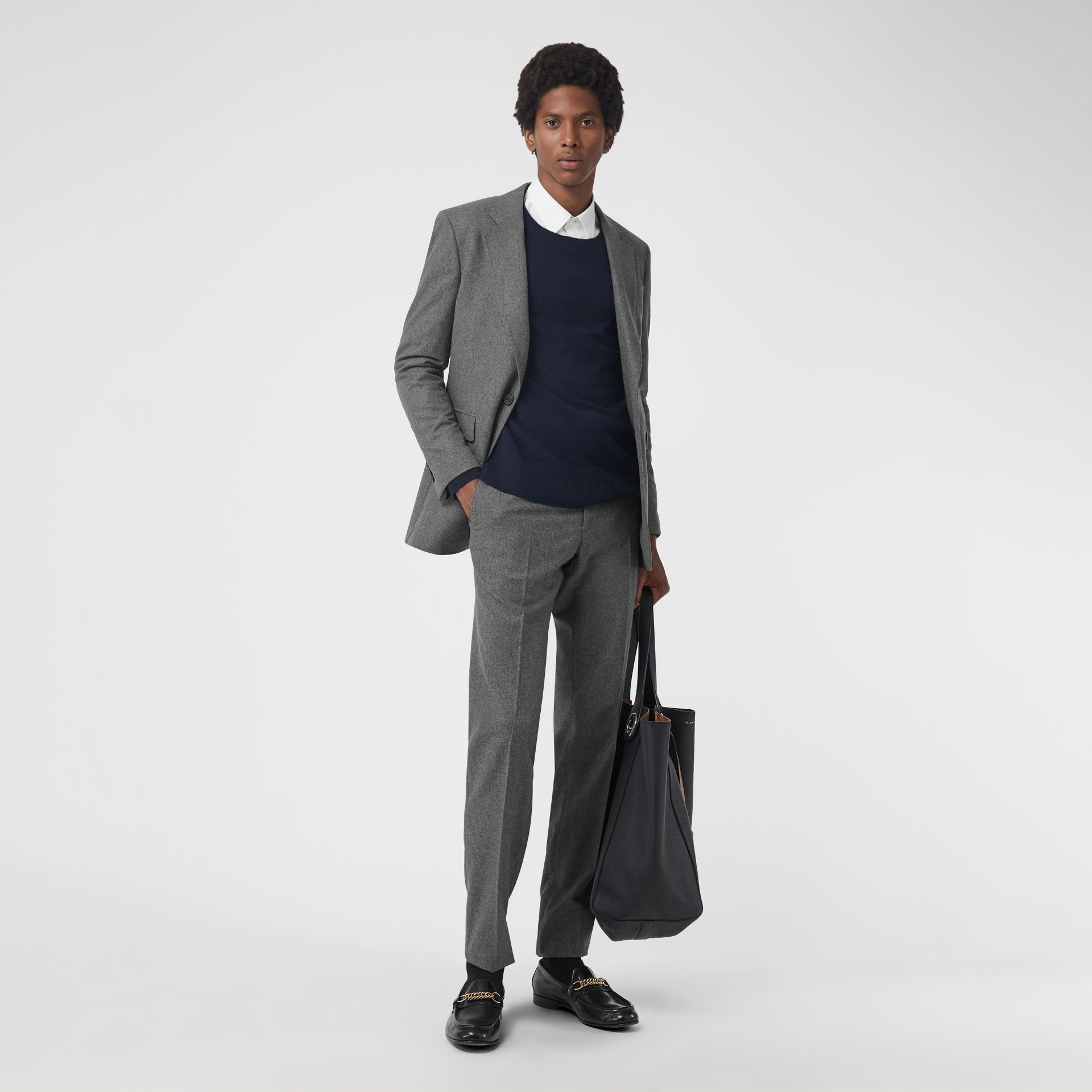 Wool Cashmere Tailored Trousers in Mid Grey Melange - Men | Burberry Singapore - gallery image 0