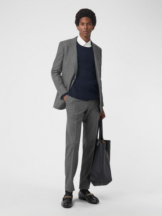 Wool Cashmere Tailored Trousers in Mid Grey Melange