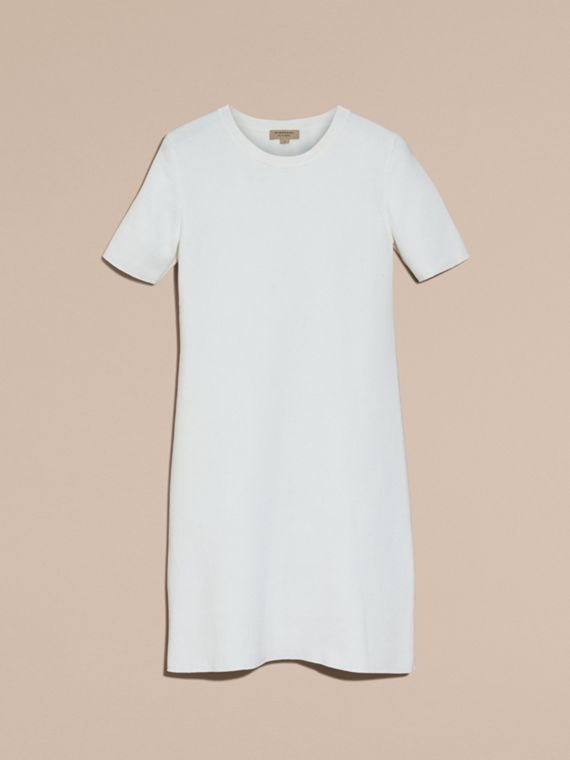 Natural white A-lIne Cotton Piqué Dress with Bow Detail - cell image 3