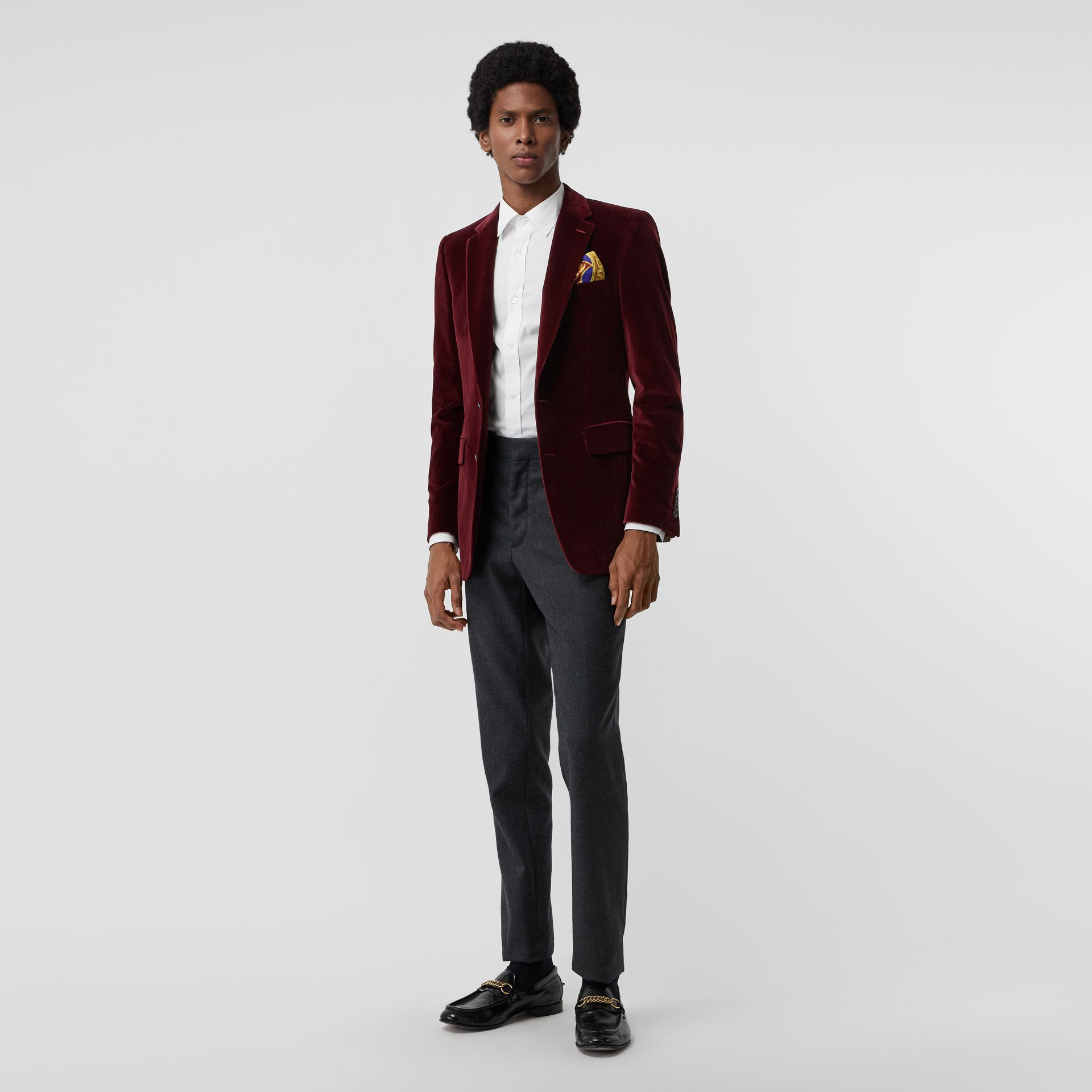 Classic Fit Velvet Tailored Jacket in Burgundy - Men | Burberry - gallery image 0