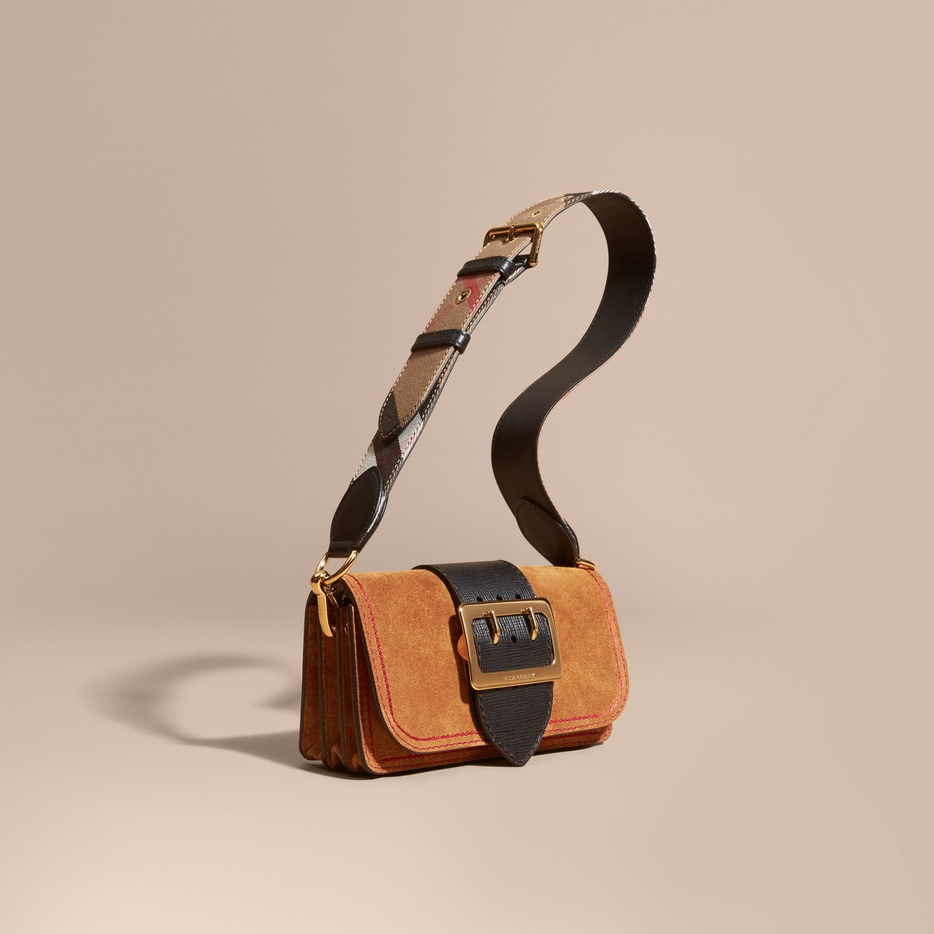The Small Buckle Bag in Suede with Topstitching Bright Toffee/black - gallery image 1