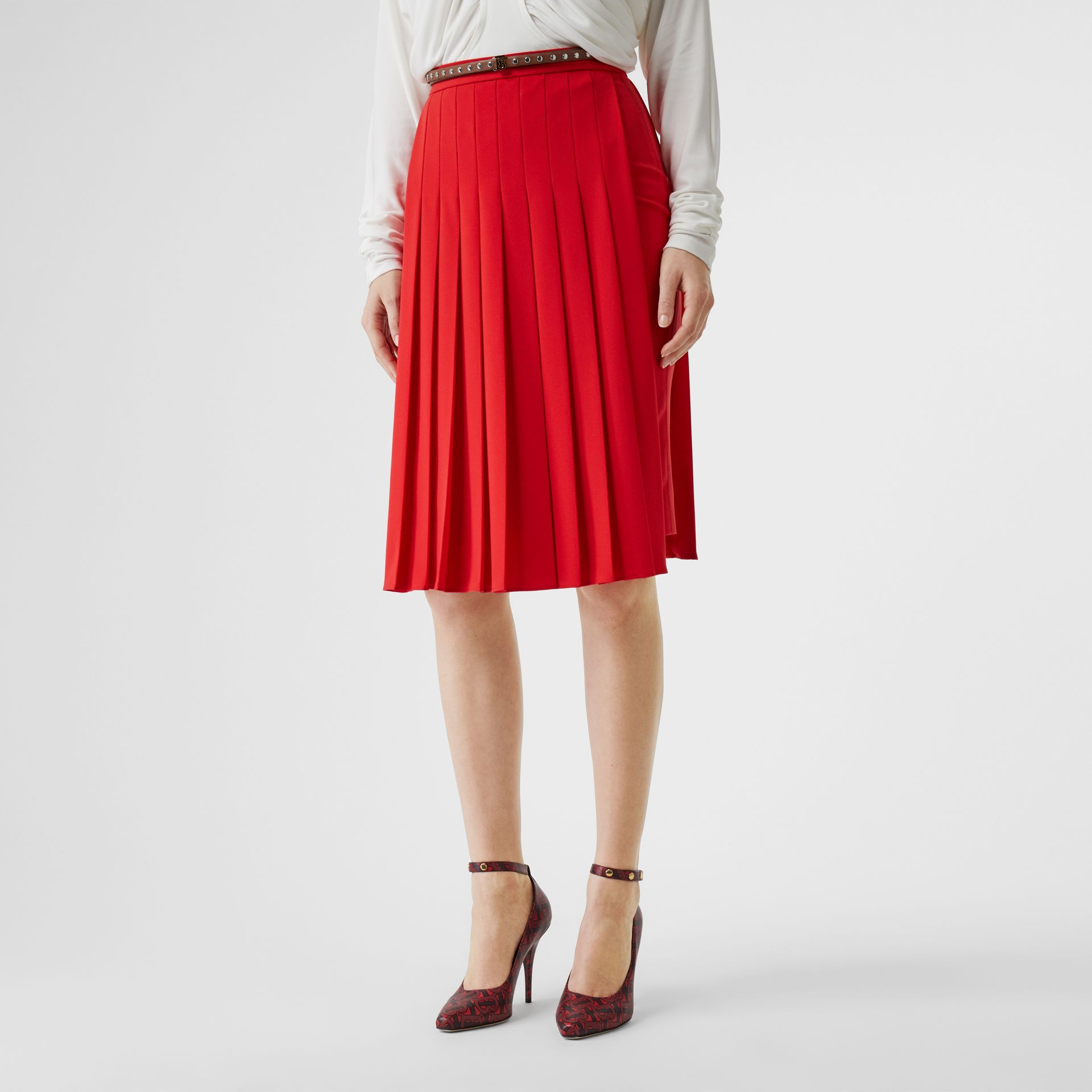 Stretch Cady Pleated Skirt in Bright Red - Women | Burberry United Kingdom - gallery image 4