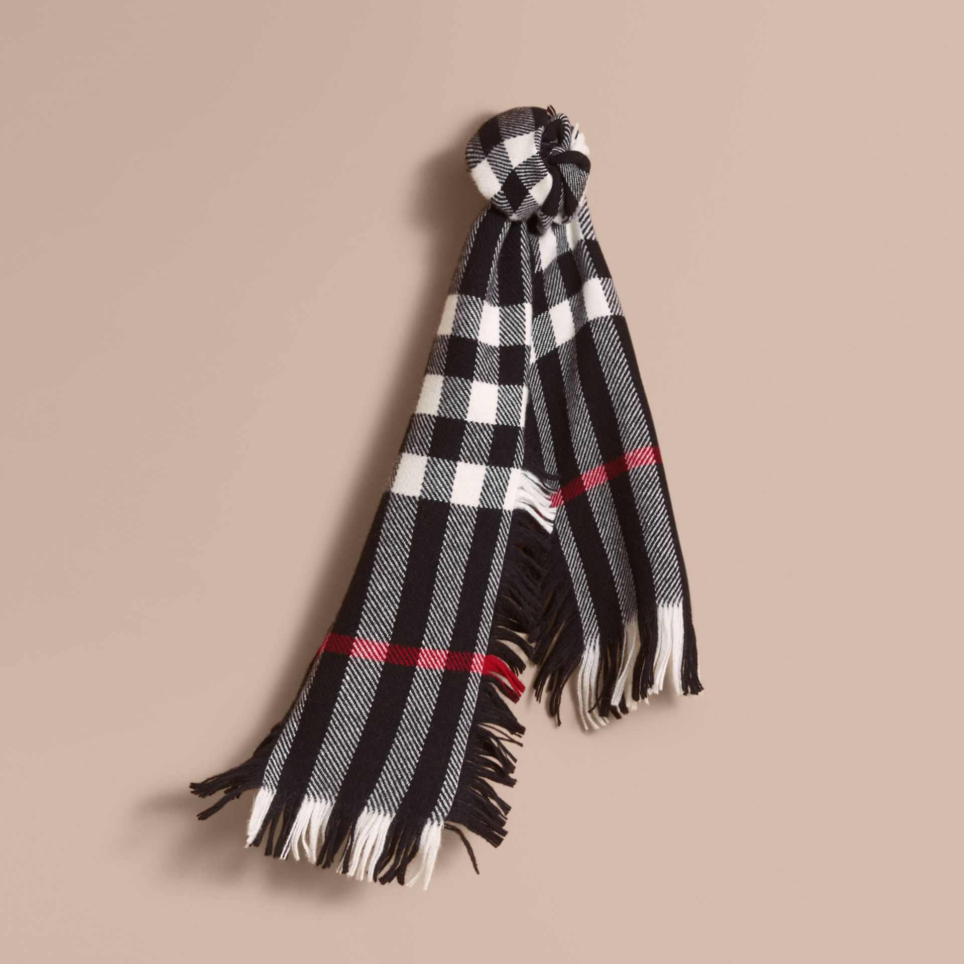 Fringed Check Wool Mini Scarf in Black | Burberry Canada - gallery image 0
