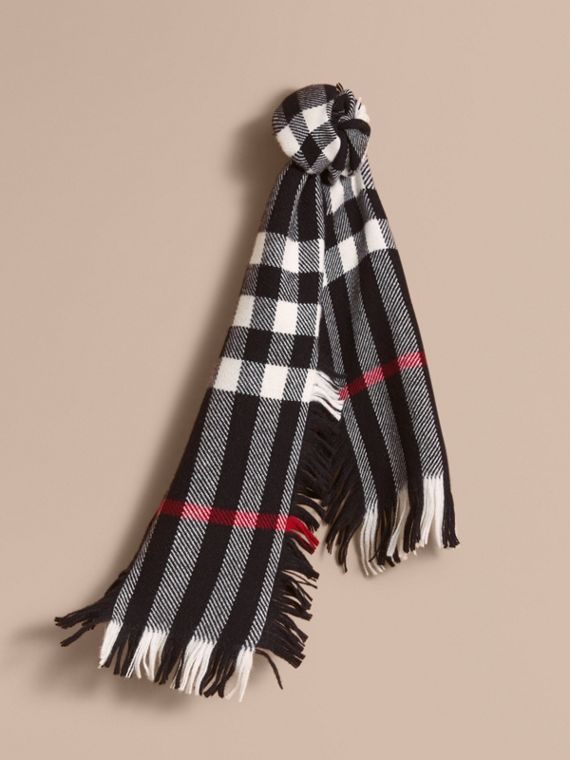 Fringed Check Wool Mini Scarf in Black | Burberry