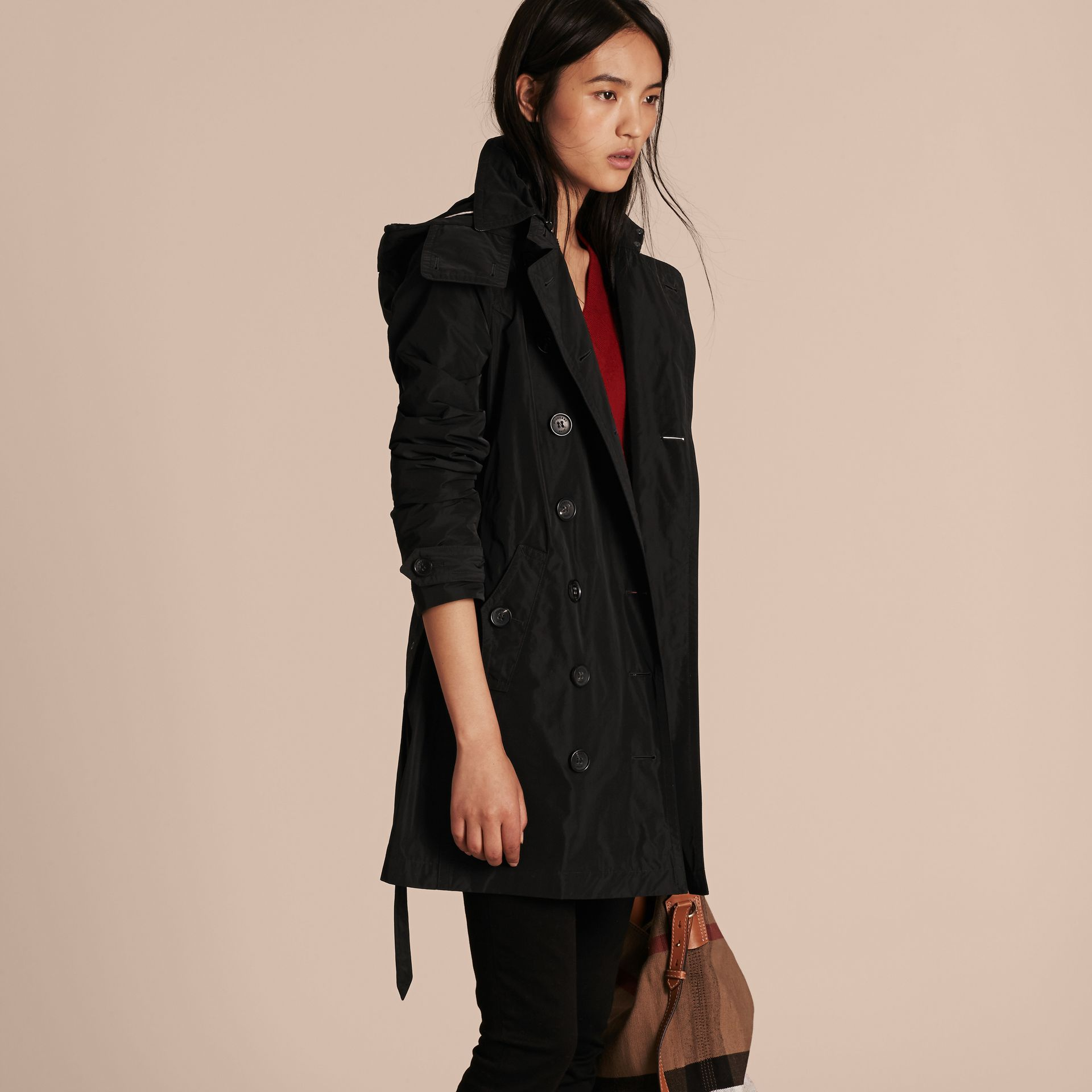 Black Taffeta Trench Coat with Detachable Hood Black - gallery image 6