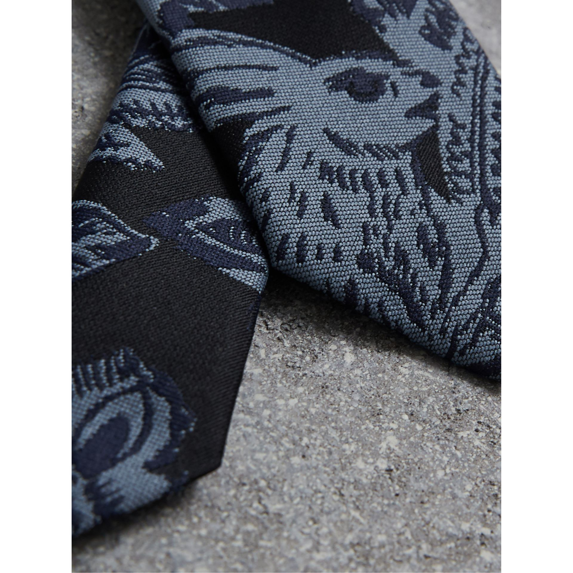 Slim Cut Beasts Silk Jacquard Tie in Stone Blue - Men | Burberry - gallery image 1