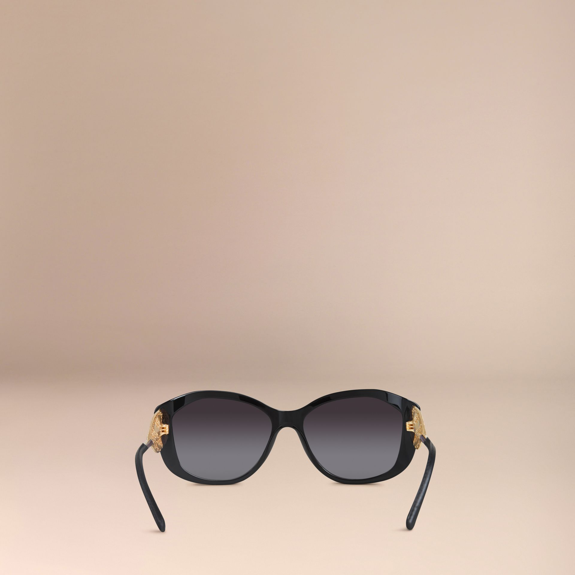 Black Gabardine Lace Collection Square Frame Sunglasses Black - gallery image 4