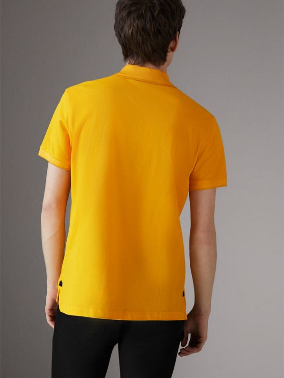Cotton Piqué Polo Shirt in Bright Yellow - Men | Burberry - cell image 2