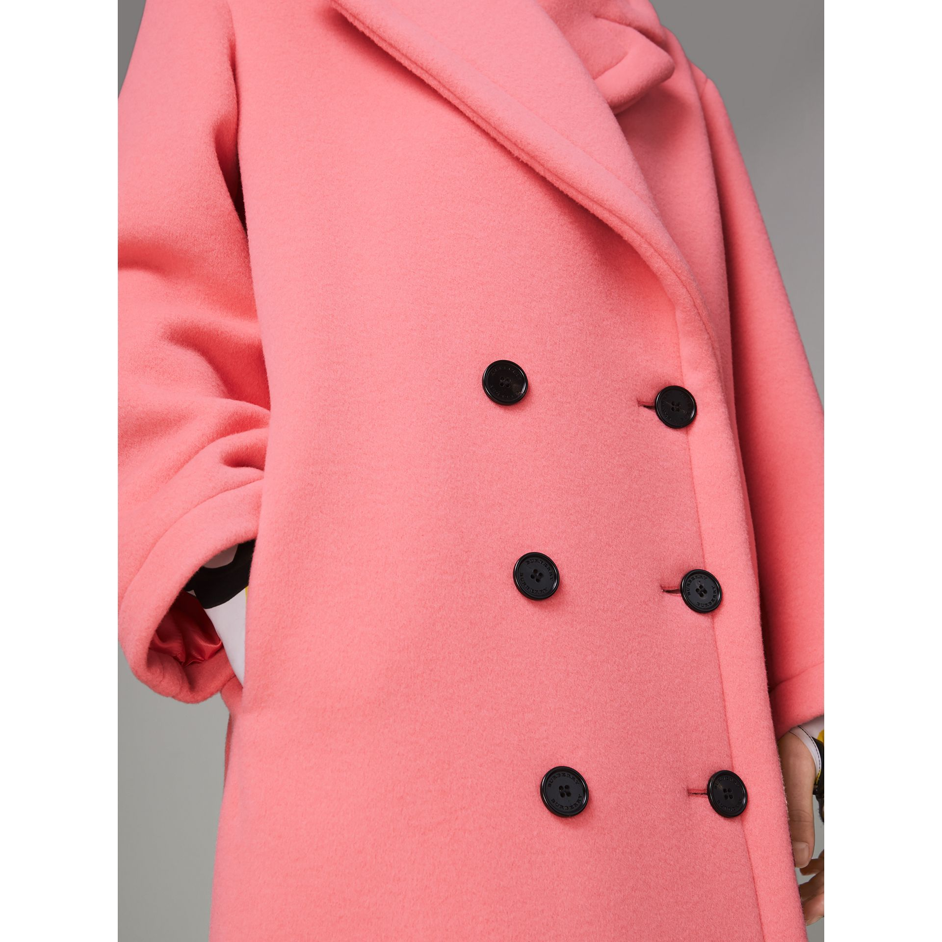 Double-faced Wool Cashmere Cocoon Coat in Bright Coral Pink | Burberry - gallery image 5