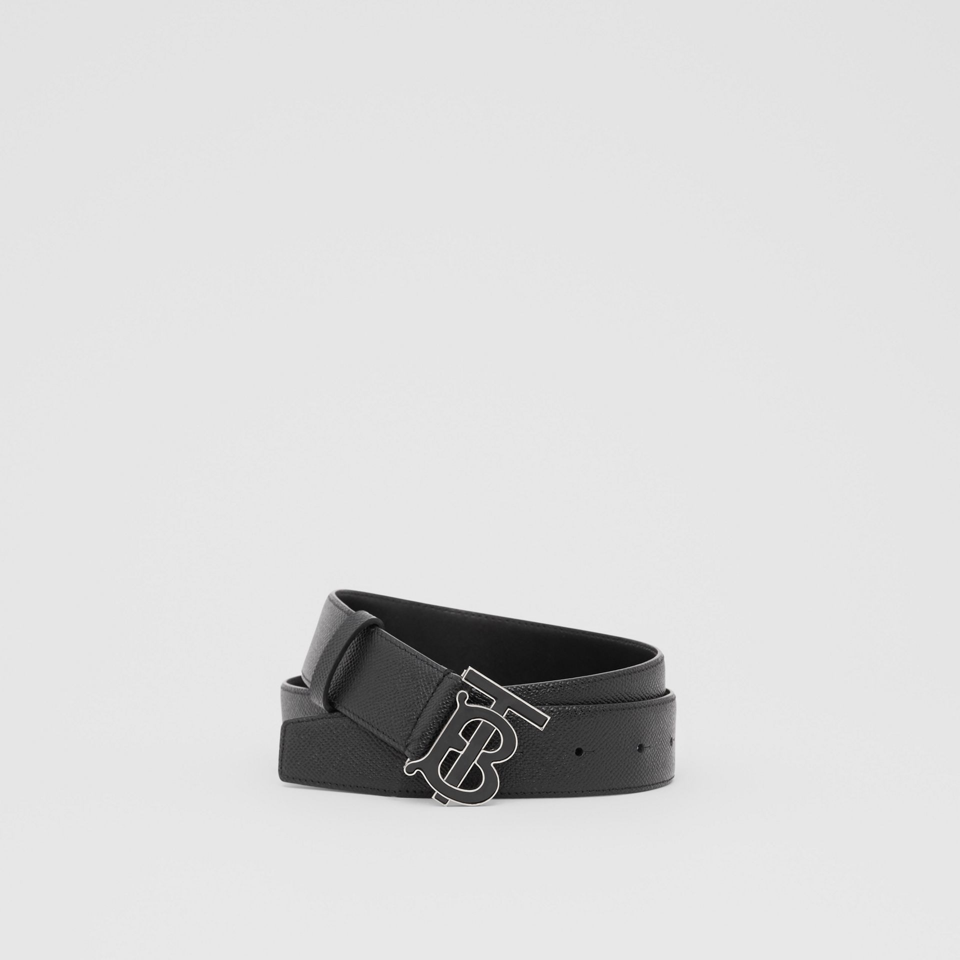 Monogram Motif Grainy Leather Belt in Black - Men | Burberry Singapore - gallery image 0