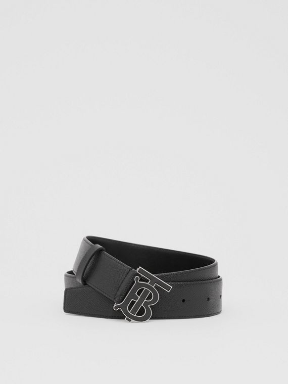 Monogram Motif Grainy Leather Belt in Black
