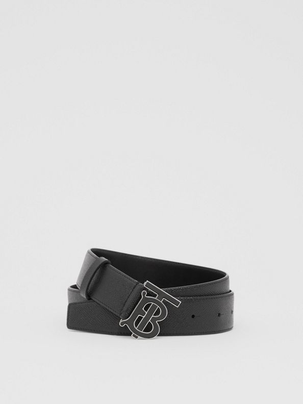Monogram Motif Grainy Leather Belt in Black