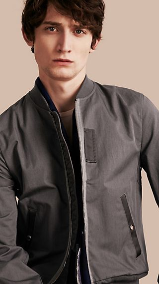 Matte Technical Cotton Bomber Jacket