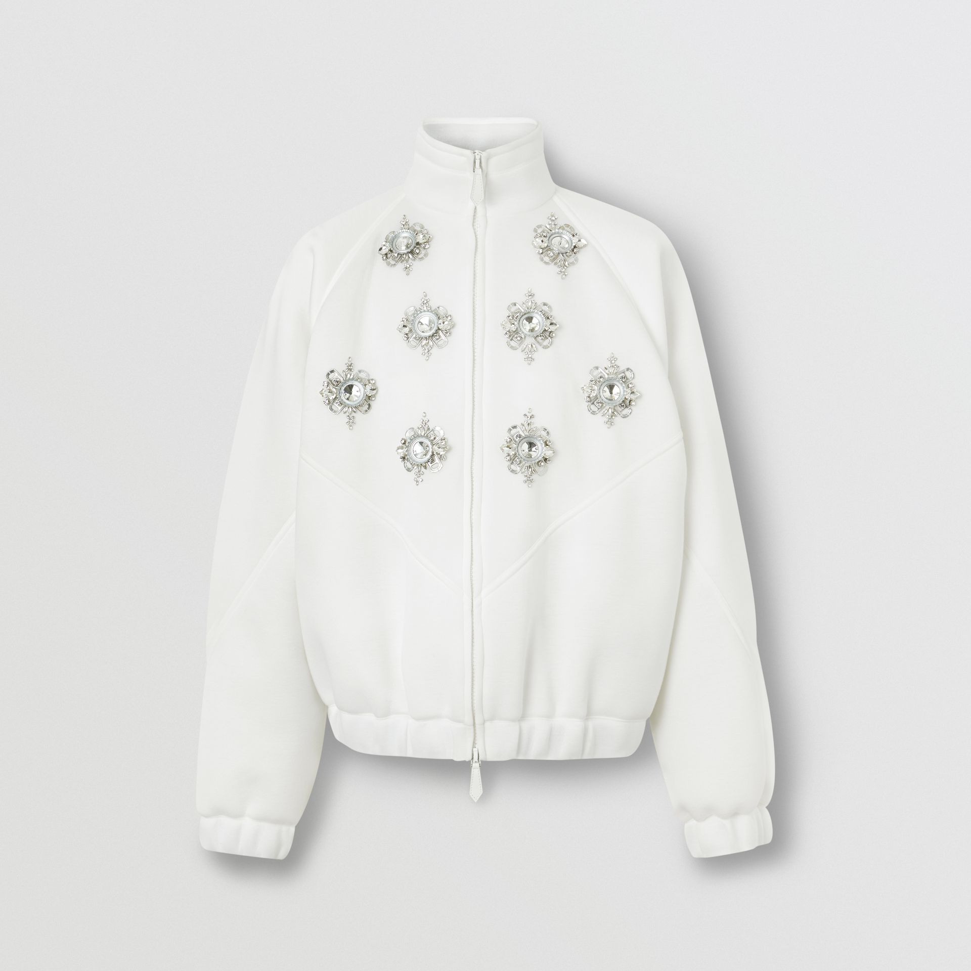 Bottle Cap Detail Jersey Track Jacket in White - Men | Burberry - gallery image 3