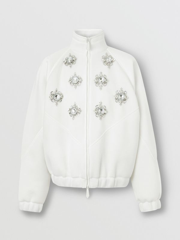 Bottle Cap Detail Jersey Track Jacket in White - Men | Burberry - cell image 3