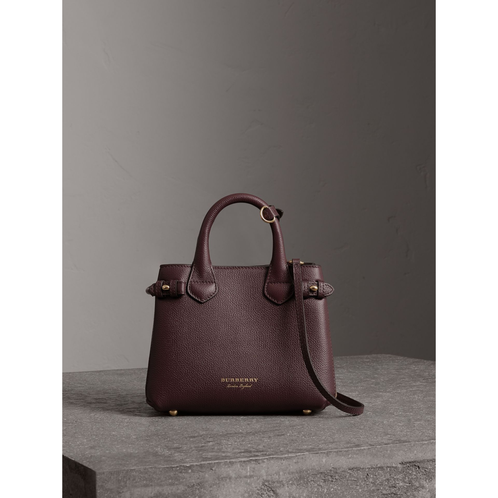 The Baby Banner in Leather and House Check in Mahogany Red - Women | Burberry - gallery image 6